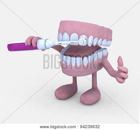 Open Denture Cartoon Washing Toot With Electric Tootbrush