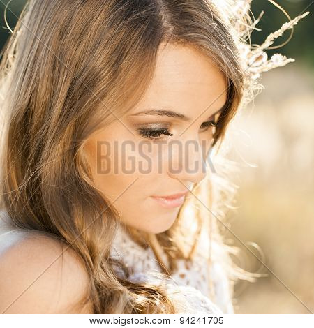 Portrait Of A Beautiful Model At Sunrise