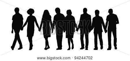 Group Of People Holding Hands Silhouette 1