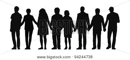 Group Of People Holding Hands Silhouette 3