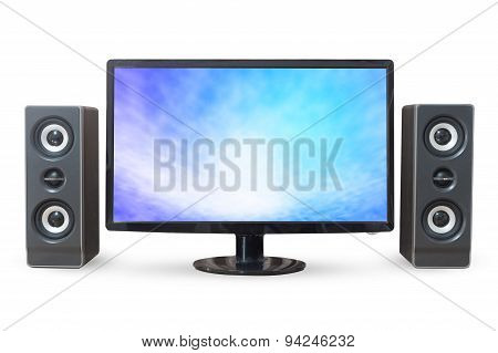 Monitor Pc Sky Landscape And Sound Woofer Isolated On White Background.