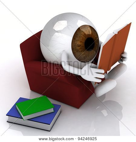Eye Ball Reading A Book From The Couch