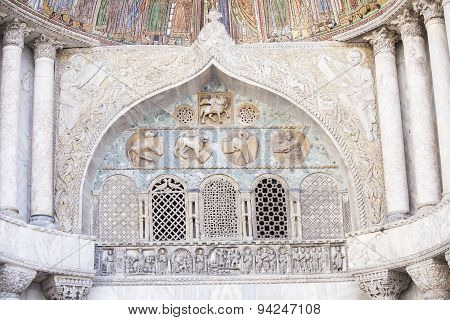 Architectural Decoration On The Facade Of San Marco Cathedral In Venice