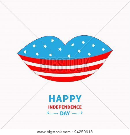 Lips With Star And Strip White Background Happy Independence Day United States Of America. 4Th Of Ju