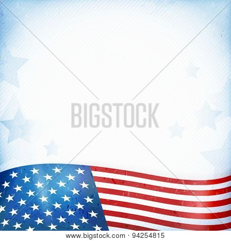 US American flag themed background, or card with wavy flag at the bottom forming a patriotic border on a distressed, worn background with faintly visible stripes and stars.