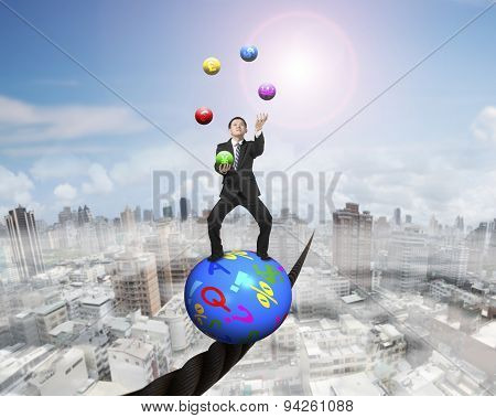 Juggling Businessman Standing On Symbols Ball Balancing On Wire