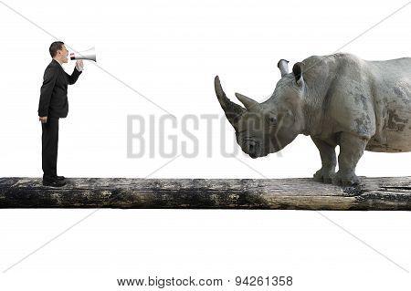 Businessman Using Speaker Yelling At Rhinoceros On Single Wooden Bridge