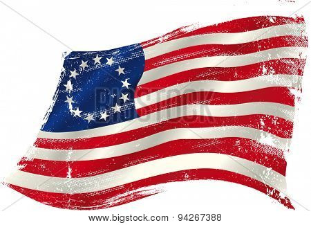 Betsy Ross grunge flag. Flag of  Betsy Ross  in the wind with a texture.