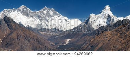 Panoramic View Of Mount Everest From Kongde