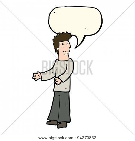 cartoon disgusted man with speech bubble poster