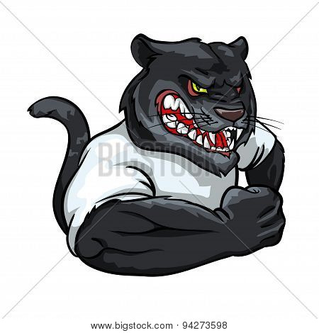 Panther mascot, team label design.