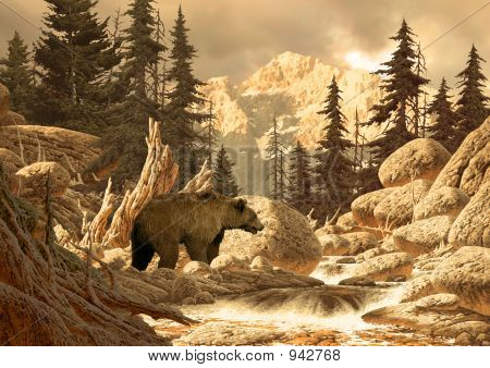 Grizzly Bear In The Tetons