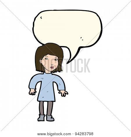 cartoon cautious woman with speech bubble