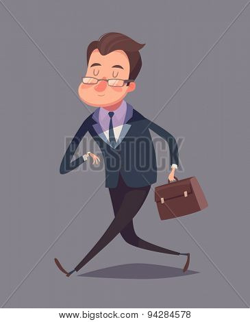 Business man is hurrying. Isolated vector illustration.