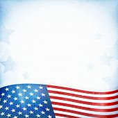 US American flag themed background, or card with wavy flag at the bottom forming a patriotic border on a distressed, worn background with faintly visible stripes and stars. poster