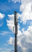 Antennas on mobile network tower. Global system for mobile communications. poster