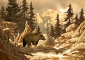 image from an original 17x24 painting of grizzly bear in the rocky mountains.  poster