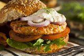 Homemade Organic Salmon Burger with Tartar Sauce poster