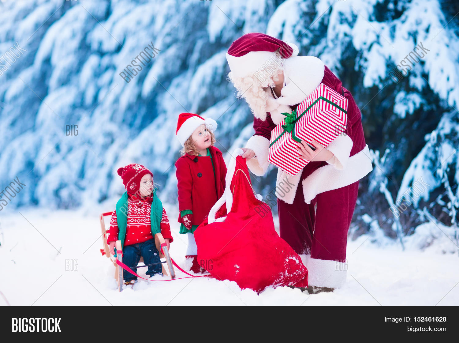 Santa Claus and children opening presents in snowy forest. Kids and father in Santa costume  sc 1 st  Bigstock : santa claus child costume  - Germanpascual.Com