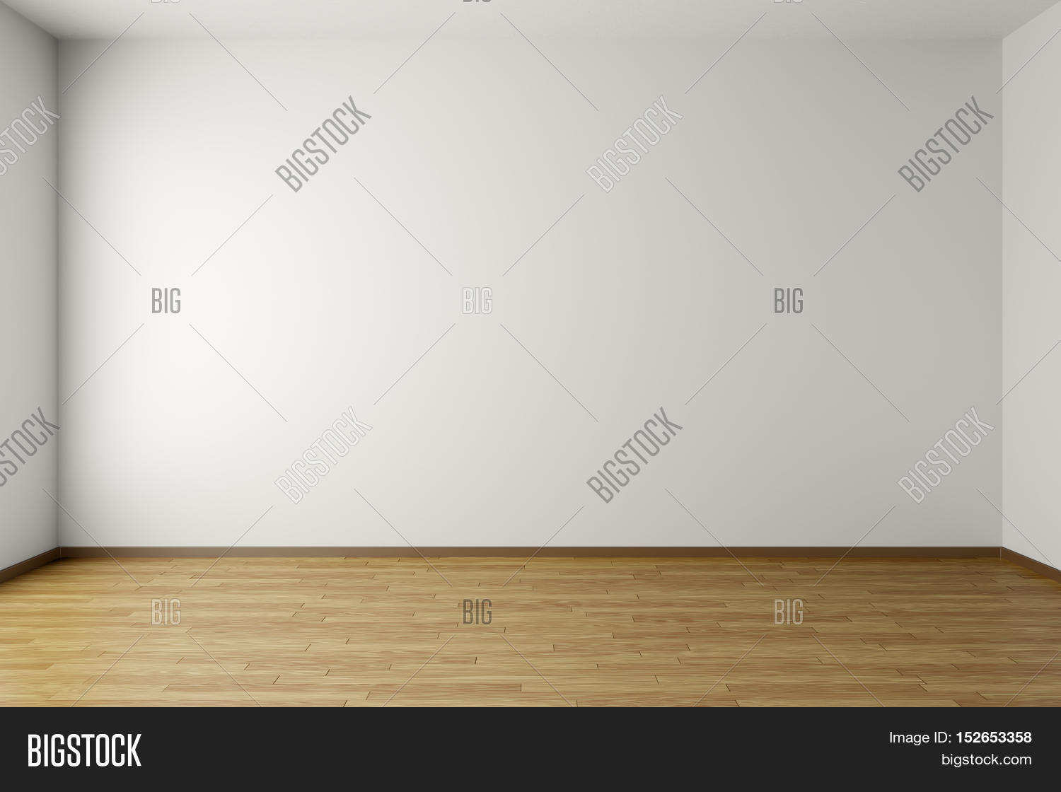 Empty Room With White Walls Brown Hardwood Parquet Floor And Soft Skylight From Window Simple Minimalist