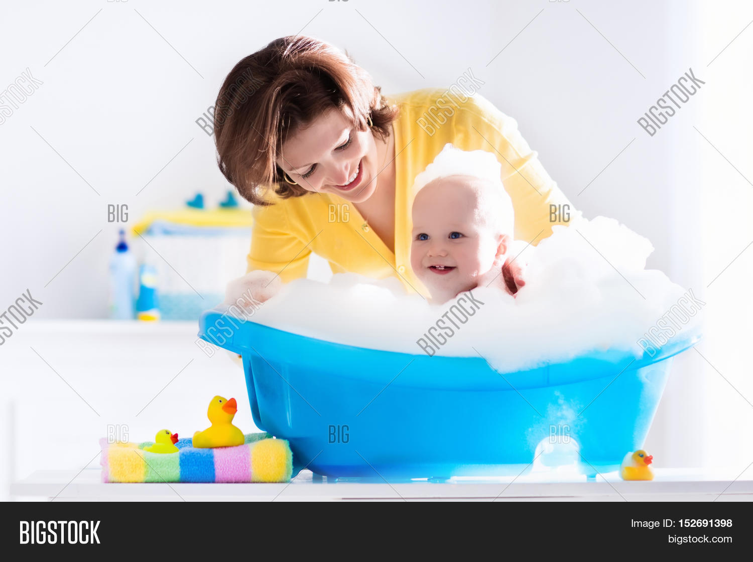 Young Mother Bathing Image & Photo (Free Trial)   Bigstock