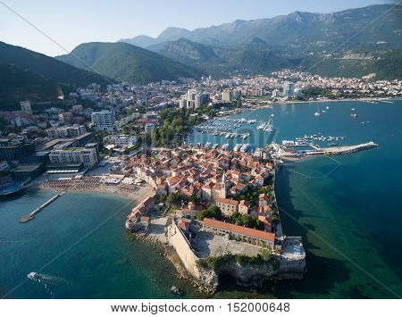Aerial View of Old Budva. Montenegro, Balkans, Europe. Budva - One of the Most Popular Resorts of Adriatic Riviera of the Mediterranean.