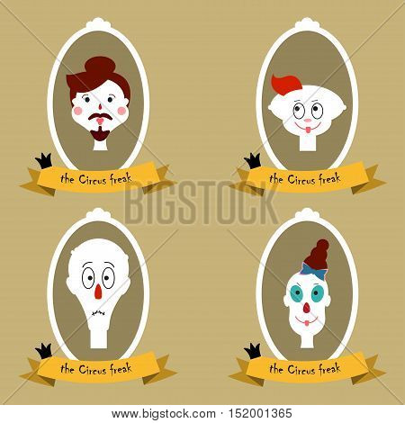 The circus freaks Vector illustration Portraits of circus freaks in white frames and labels Flat design