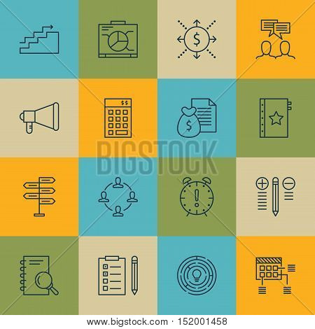 Set Of Project Management Icons On Opportunity, Time Management, Innovation And Other Topics. Editab