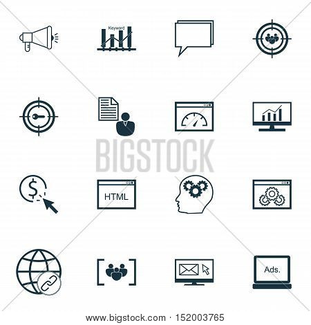 Set Of Advertising Icons On Keyword Marketing, Brain Process, Ppc And Other Topics. Editable Vector