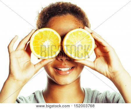 young smiling afro american woman with half oranges, lifestyle concept isolated on white background close up