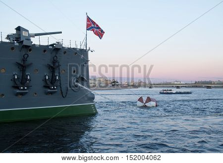 Saint Petersburg Russia September 08 2016: Forecastle gun of the cruiser Aurora in Saint-Petersburg Russia