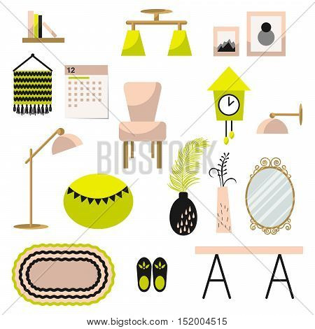 Home decor and furniture vector set. Flat style interior illustration. Modern furniture decor elements in contemporary interior.