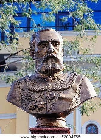 Odessa, Ukraine - September 03, 2016: Monument to Grigory Marazli, mayor of Odessa from 1878 to 1895. The bust was erected in 2016.