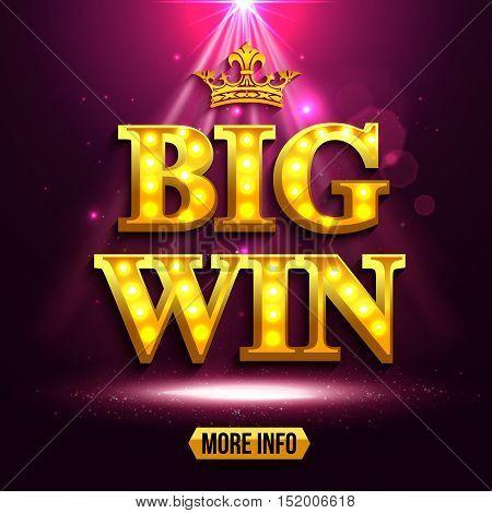 Big win background for online casino, gambling club, poker, billboard. Vector eps 10 format.