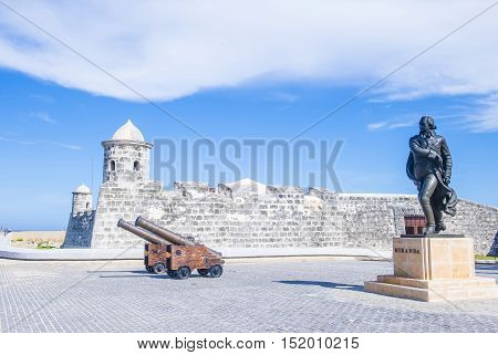 HAVANA CUBA - JULY 18 : The Morro castle in Havana Cuba on July 18 2016. The castle was built by the Spaniards in the years 1589 to 1630