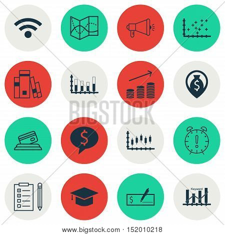Set Of 16 Universal Editable Icons For Statistics, Airport And Seo Topics. Includes Icons Such As St