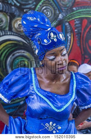 HAVANA CUBA - JULY 18 : Portrait of a Rumba dancer in Havana Cuba on July 18 2016. Rumba is a secular genre of Cuban music involving dance percussion and song. It originated in the northern regions of Cuba