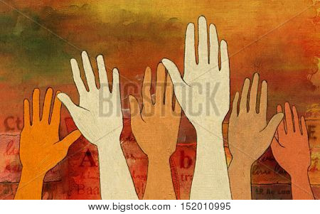 Group of raised hands over a colorful and textured background. Digital illustration.
