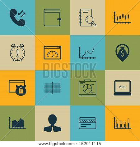 Set Of 16 Universal Editable Icons For Advertising, Project Management And Human Resources Topics. I