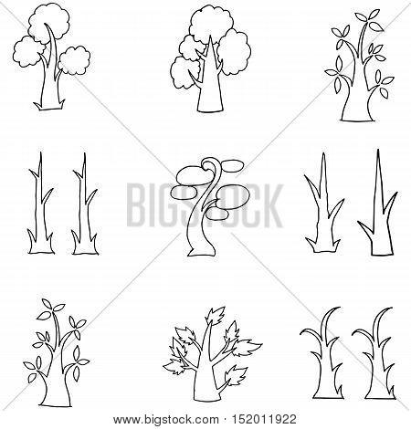 Unique tree hand draw of doodles vector art