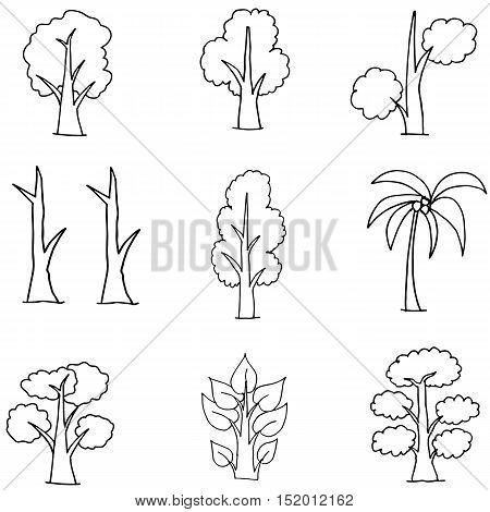 Doodle of tree unique hand draw vector art