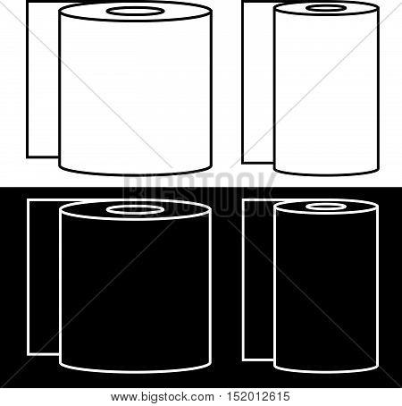 Set Of Toilet Paper And Paper Towel Symbols