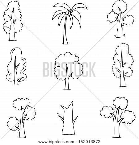 Doodle of various tree set collection vector art