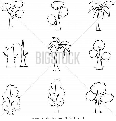 Doodle of many tree various collection vector art