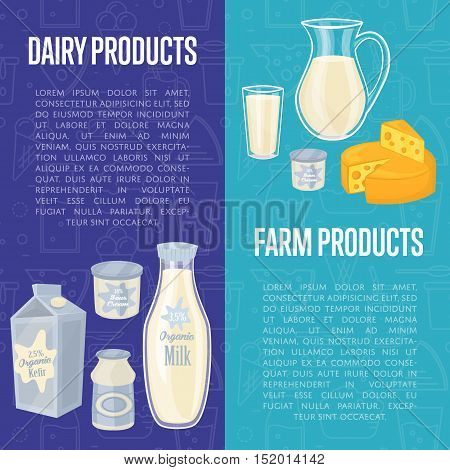 Dairy products vertical flyers with different milk composition isolated on blue background, vector illustrations. Organic farmers food. Organic farmers food. Organic food and dairy product concept. Milk product icon. Cartoon dairy product. Dairy icon.
