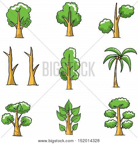 Collection of simple tree doodles vector art