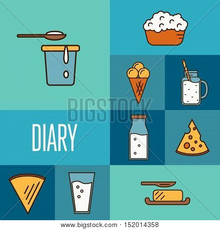 Assortment dairy products, isolated square composition vector illustration in line style design. Healthy nutritious concept with butter, ice cream, milk, yoghurt, cheese. Organic food and dairy product concept. Milk product icon. Cartoon dairy