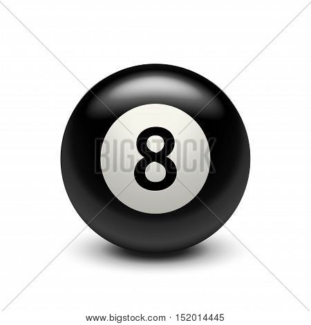 illustration of billiard ball black eight with shadow on white background