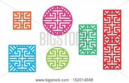 Chinese pattern frame for window and fence vector
