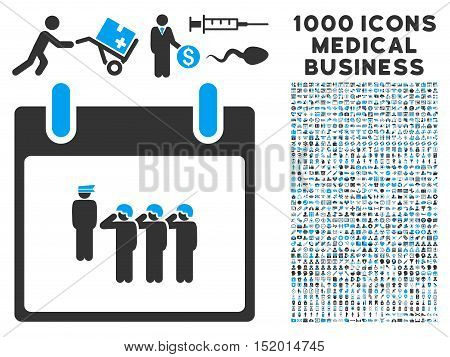 Blue And Gray Army Squad Calendar Day vector icon with 1000 medical business pictograms. Set style is flat bicolor symbols, blue and gray colors, white background.